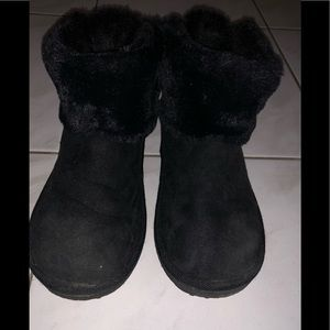 H&M black booties with fur size 2-3